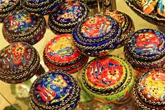 Turkish colorful painted pottery on display Royalty Free Stock Photo