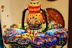 Turkish colorful painted pottery on display Stock Images