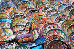 Turkish colorful pottery dishes Royalty Free Stock Photography