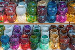 Turkish colorful stained glass candles royalty free stock photography