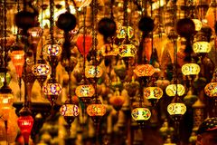 Turkish ceiling lamps. Turkish colourful and special ceiling lamps hang on shops and streets royalty free stock photos