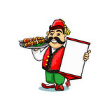 Turkish cook with menu and shashlik Stock Photos