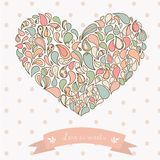 Turkish cucumber ornament heart. Hand drawn. Style colorful pastel Royalty Free Stock Photo