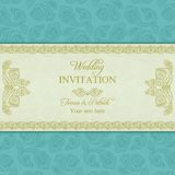 Turkish cucumber wedding invitation, gold and blue Royalty Free Stock Photo
