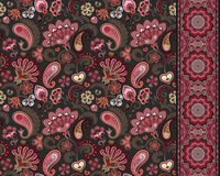 Turkish cucumbers. Oriental motif. Seamless ornament and border for fabrics, wallpaper, background. Vector illustration. Stock Images