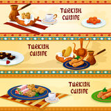 Turkish cuisine dessert menu banners Royalty Free Stock Images