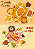 Turkish cuisine dinner with delight icon set. Turkish cuisine dinner icon set. Baked meat and fish with tomato and fruit sauce, vegetable stew and salad, cabbage Stock Photo