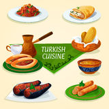 Turkish cuisine dinner with dessert, coffee icon Royalty Free Stock Photo