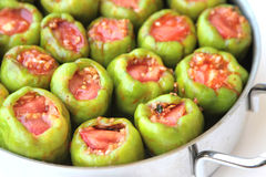 Turkish cuisine. ( Dolma ). Ground beef and rice stuffed peppers Royalty Free Stock Images
