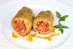 Turkish cuisine. ( Dolma ). Ground beef and rice stuffed peppers Stock Photography