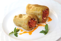 Turkish cuisine. ( Dolma ). Ground beef and rice stuffed peppers Stock Image