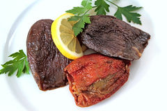 Turkish cuisine - DOLMA - rice stuffed sundried red pepper and eggplant Stock Image