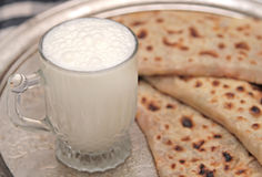 Turkish cuisine gozleme and yogurt drink ayran Royalty Free Stock Photos