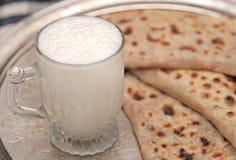 Turkish cuisine gozleme and yogurt drink ayran Royalty Free Stock Photos