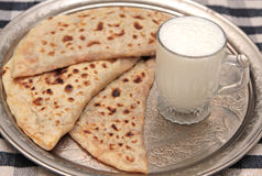 Turkish cuisine gozleme and yogurt drink ayran Royalty Free Stock Image