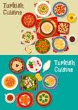 Turkish cuisine icon set for restaurant design. Turkish cuisine icon with meat soups, meatballs, vegetarian salads with feta, carrot ball, bulgur pilaf, nut Royalty Free Stock Photos