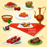 Turkish cuisine kebab meat dishes icon. Served with meat skewers shish kebab, iskender kebab on flatbread, lamb kefta kebab, rice soup with mint, carrot balls Stock Image