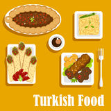 Turkish cuisine with kebab and shawarma Royalty Free Stock Photography