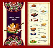 Turkish cuisine menu with delights and meat dishes Royalty Free Stock Image
