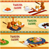 Turkish cuisine sweets with coffee banner set Royalty Free Stock Image