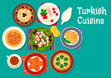 Turkish cuisine traditional dishes icon Stock Photos