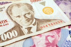 Turkish Currency. Close up of old banknote. Issued to honor Mustafa Kemal Ataturk who founder Turkish Republic Royalty Free Stock Image