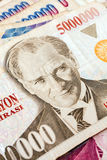 Turkish Currency. Close up of old banknote. Issued to honor Mustafa Kemal Ataturk who founder Turkish Republic Royalty Free Stock Photo