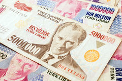 Turkish Currency. Close up of old banknote. Issued to honor Mustafa Kemal Ataturk who founder Turkish Republic Stock Photo