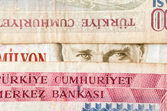 Turkish Currency. Close up of old banknote. Issued to honor Mustafa Kemal Ataturk who founder Turkish Republic Stock Photos