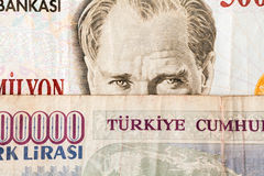 Turkish Currency. Close up of old banknote. Issued to honor Mustafa Kemal Ataturk who founder Turkish Republic Royalty Free Stock Images