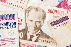 Turkish Currency. Close up of old banknote. Issued to honor Mustafa Kemal Ataturk who founder Turkish Republic Royalty Free Stock Photos