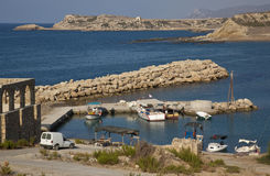 Turkish Cyprus - Kaplica Harbor. The small fishing port of Kaplica on the north coast of the Turkish Republic of Northern Cyprus.  Greek name - Davlos Stock Photo