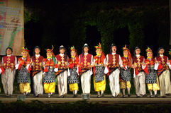 Turkish dancers in folk costumes on stage Royalty Free Stock Photos
