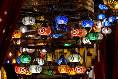Turkish decorative lamps lamps on Grand Bazaar at Istanbul, Turk Royalty Free Stock Photography