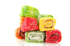 Turkish delight. Tasteful sweet Turkish delight candy isolated over white stock photography