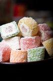 Turkish delight. Lokum sweet food stock photo