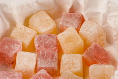 Turkish Delight. A box of turkish delight containing rose and lemon flavours royalty free stock photos