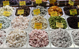 Turkish delight. A view of Turkish delight in the Spice Bazaar in istanbul, Turkey stock photography