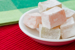 Turkish delight. A selection of fruit flavored Turkish Delight jellies stock images