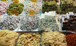 Turkish Delight. View of Turkish delight in the Spice Bazaar. It's popular Turkish sweet stock photography