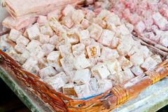 Turkish Delight. In Straw Basket stock photography