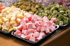 Turkish delight. Bunch of turkish delight arrangement plates on table stock photo