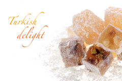 Turkish delight. (rahat lokum) with confectioners sugar stock photos