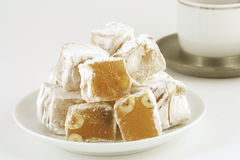 Turkish delight. Pieces of Turkish delight on a plate stock photo