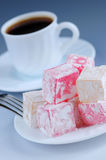 Turkish delight. (lokum) confection with black coffee stock photos