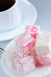 Turkish delight. (lokum) confection with black coffee stock image