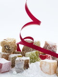 Turkish delight. Or rahat lokum assortment with moving red track stock images