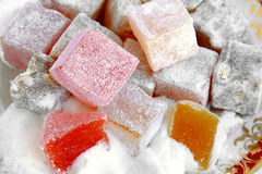 Turkish Delight. Traditional Turkish Delight. Very fresh and sweet cubes royalty free stock photos