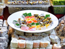 Turkish Delight. Plate on retail market Royalty Free Stock Photography