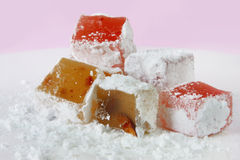 Turkish Delight. Pile of delicious Turkish Delight, with lots of powdered sugar stock photography